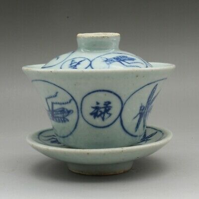 China Jingdezhen Blue White Porcelain Insect-animal Teacup Tea Cover Saucer 福禄寿