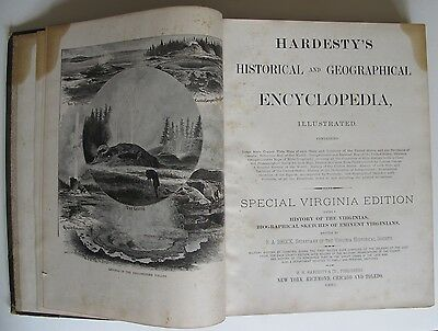 1885 Hardesty's Historical & Geographical Encyclopedia Special Virginia Edition