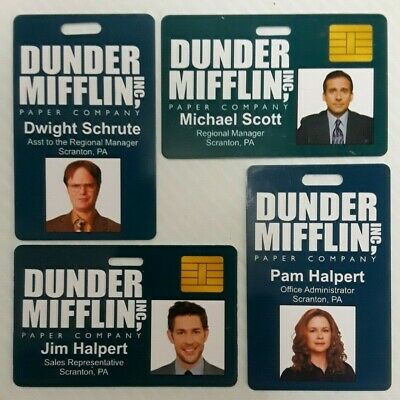 Dunder Mifflin Inc. Novelty ID Badge The Office Prop Character of Your Choice