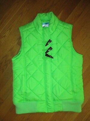 Girls Justice Bright Lime Green Puffy Quilted Vest Size 14