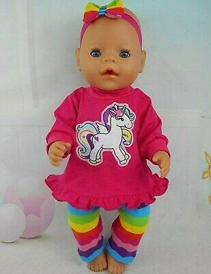 """Dolls clothes for 17"""" Baby Born~16"""" CPK doll~PINK UNICORN TOP~STRIPE LEGGINGS"""