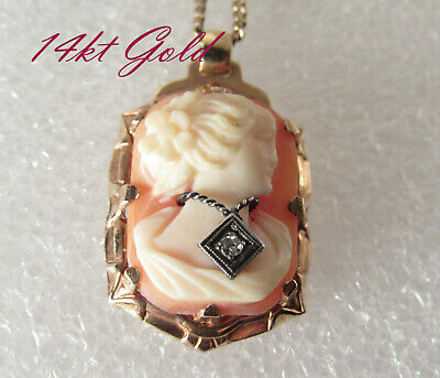 Antique ca 1930 14k Solid Gold Shell Cameo w/ DIAMOND Pendant necklace