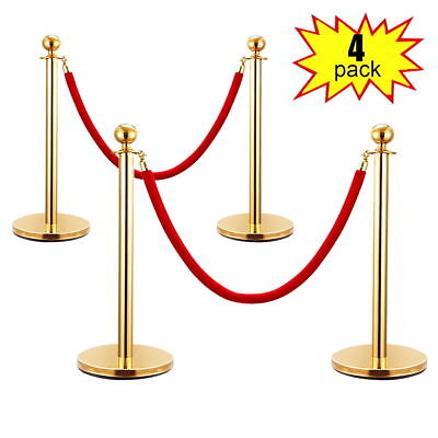 4PCS Stainless Steel Gold Stanchion Posts w/Red Velvet Rope