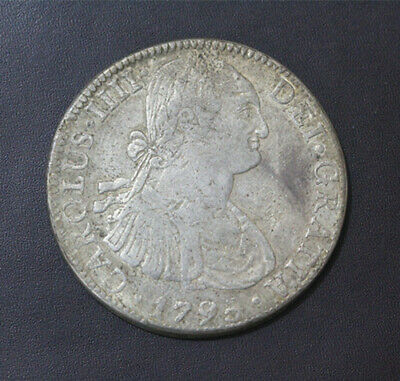 1795 Mexico Colonial 8 Reales Silver Coin