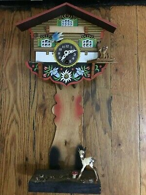 *Vintage Swiss Mechanical Black Forest Wooden Cuckoo Clock! use for parts too!*