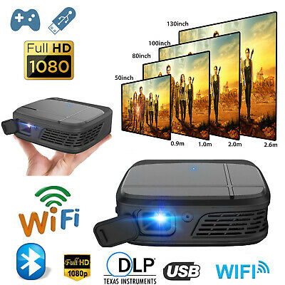 Android 7.1 HD Smart DLP WIFI Projector Bluetooth Movie Conference HDMI USB PPT