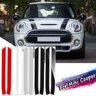 2PCS Engine Bonnet Hood Stripe Trim Sticker Decals For Mini Cooper For Mini Coop