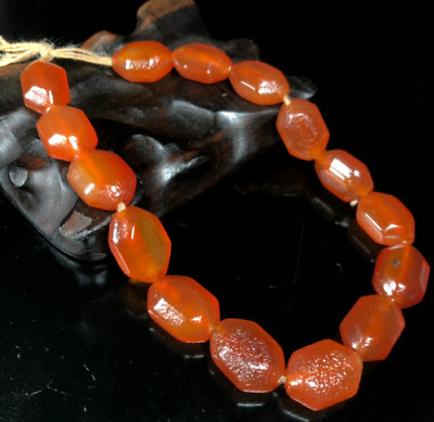 Ancient Collection Beautiful China natural Raw stone red old agate Bracelets