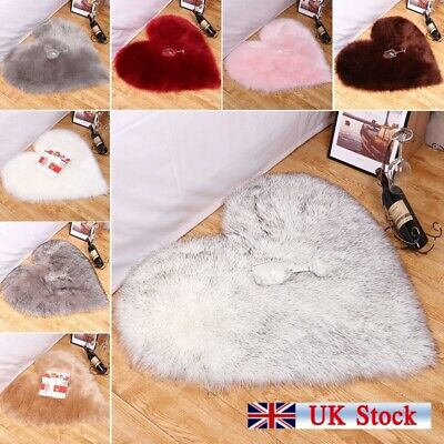 Love Heart Shaped Fluffy Rugs Shaggy Floor Mat Fur Home Bedroom Hairy Carpet