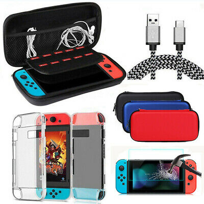 For Nintendo Switch Travel Hard Case Bag+Cover+ Screen Protector Charger Cable