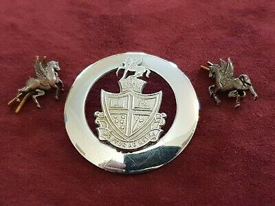 Post Ww2 Geelong College Cadet Corps Hat Badge And Collar Badge Set