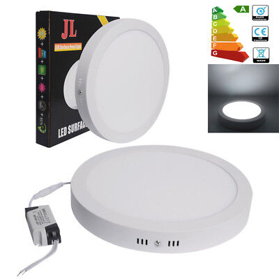 2x Round LED 24W Surface Mount Ceiling Panel Light Wall Downlight Daylight 6500K