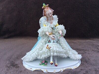 volkstedt dresden sitzendorf Volkstedt porcelain Lady sitting butterfly's lace