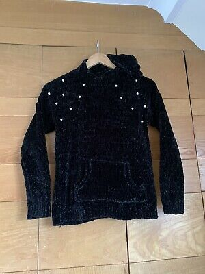 George Girls Black Soft Feel Black Knit Hoodie.Pearl & Pocket Detail.11-12yrs.Ex