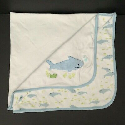 2005 Gymboree SHARK Baby Blanket Security Lovey Blue Green Fish FLAW