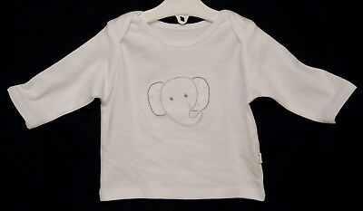 NEW! M&S Baby Girls White Cute Elephant Face 3/4 Sleeve Top Age 0-3-6 Months