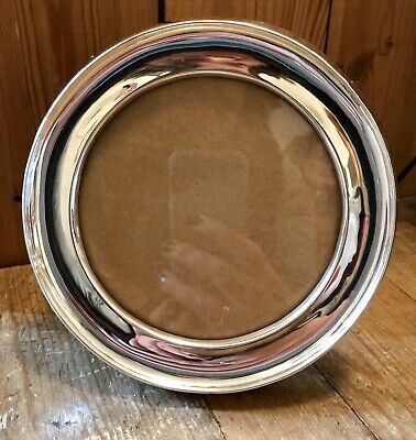 Lovely Antique Solid Silver Circular Photo Frame, Hallmarked Birmingham 1907