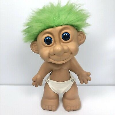 Vintage Giant Troll Doll with Green Hair in Nappy