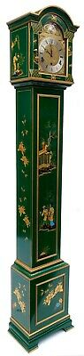 Stunning Antique Green Chinoiserie Musical Grandmother Clock Elliott London