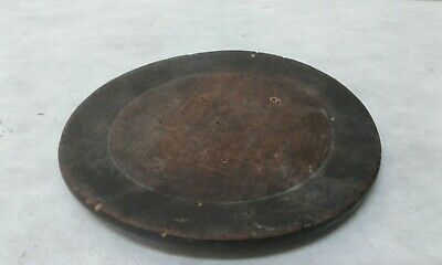 PRIMITIVE ANTIQUE OLD  WOODEN ROUND PLATE w DARK PATINA 19thC