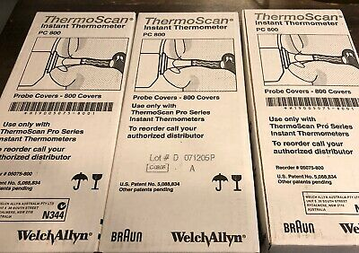 Braun Thermoscan Instant Thermometer Probe Covers 3 Boxes Of 800 = 2400 Total