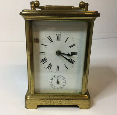 Antique Brass Carriage Clock With Alarm Spares Or Repairs
