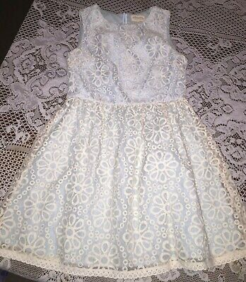 Boden Johnnie b Girls Age 13-14 Summer Party Pale Blue White Ivory Lace Dress