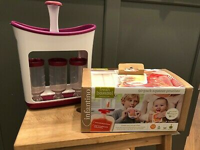 Infantino Squeeze Station (Used) & A Box of 50 Pouches (NIB)