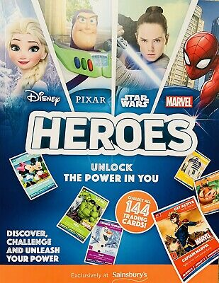 Sainsbury's Heroes Album  (Marvel, Disney, Star Wars) + 60 Different Cards - New