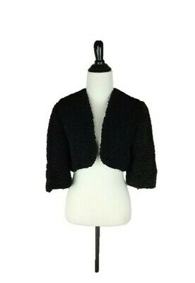 Vtg 50s Black & Dark Green Bolero Jacket Faux Fur 3/4 Sleeve Size S