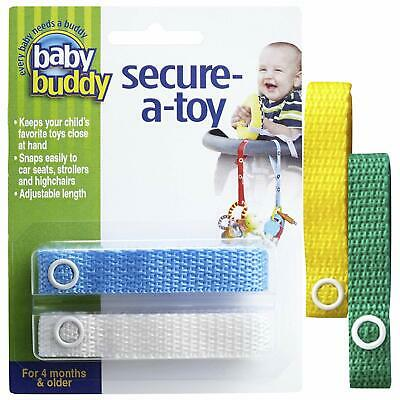 Baby Buddy Secure A Toy Straps White-Never Drop Baby's Toys!