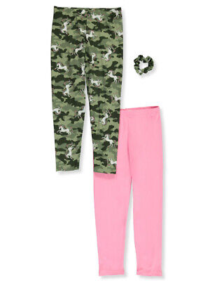 One Step Up Girls' Unicorn Camouflage 2-Pack Leggings with Scrunchie