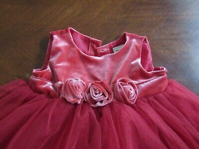 Old Navy red pink Christmas holiday party dress tulle velvet rose girls 6-12 m