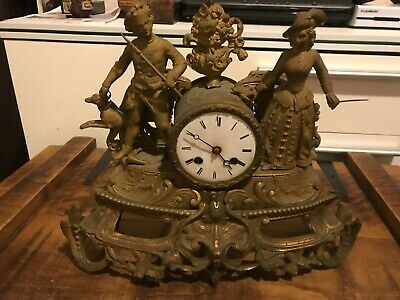 FIGURAL  MANTEL CLOCK- FRENCH MOVEMENT-antique-can be bronze-must check