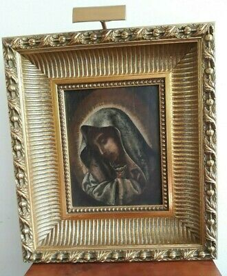 Antique Oil on Board Painting in Modern Frame Virgin Mary Mother of Sorrows