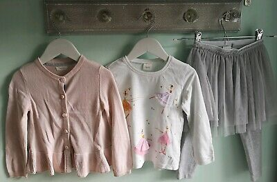 Girls Pretty Ballerina Top Cardigan & Tutu Leggings Outfit By Next Size 2-3 year