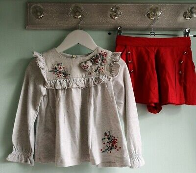 Girls Pretty Embroidered Christmas Blouse & Shorts Outfit By Next Size 2-3 Years