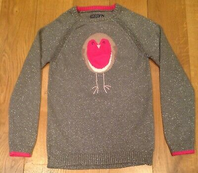Joules age 11-12 girls silver grey sparkle Christmas Robin jumper sweater top