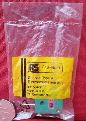 RS Standard Type K In-Line Plug Connector for use with Thermocouple 219-4955