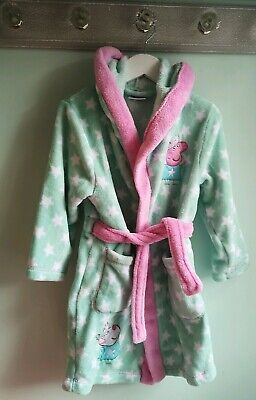 Girls Cute Peppa Pig Fleeced Dressing Gown By George Size 3-4 Years stars