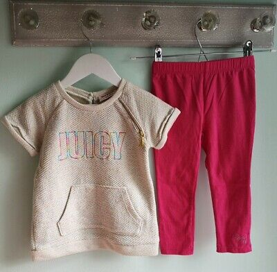 Girls Trendy Juicy Couture jumper Top & Leggings Outfit Size 3 Years