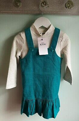 Girls Smart Cord Pinafore Dress & Top Outfit By M&S Size 2-3 Years BNWT green