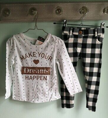 Girls Spotted Top & Checked Trousers Outfit Size 2-3 Years black white