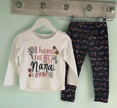 Girls Cute Best Nanna Top & Woodland Leggings Outfit By Nutmeg Size 3-4 Years