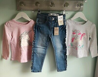 Girls 2 X Unicorn Tops & Frilled Denim Jeans Outfit By Primark Size 3-4 Years