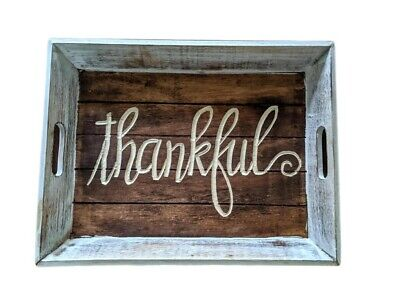 Rustic Thankful Serving Tray Wood with Handles Dennis East 12 x 15 Hand Carved