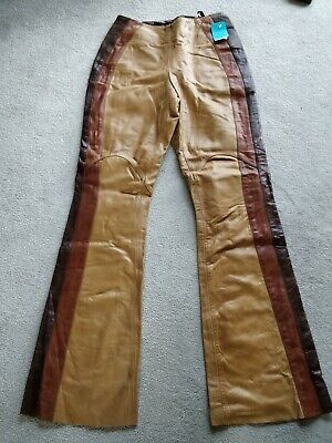 Ladies Vintage Real Leather Camel Brown  Taped Trousers Size 10 W27