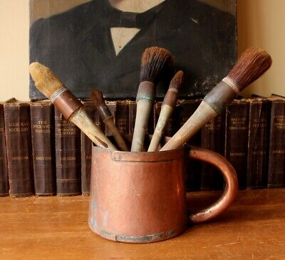 Antique French Rustic Copper Pot & Paint Brushes. Measure Mug Home Decor Display