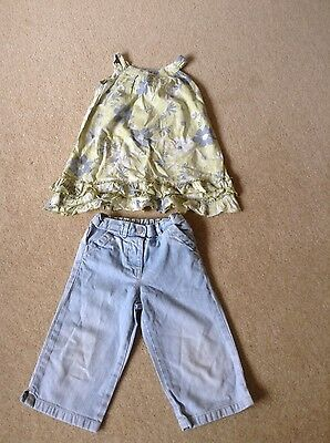 Next Girls Top and Cropped Jeans Outfit Green Blue Age 2-3