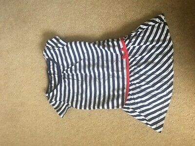 Girls Navy White Stripe Dress Top Age 2-3 look good with next jeans leggings